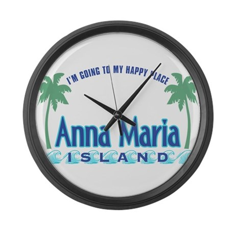 Anna Maria Island-Happy Place Large Wall Clock
