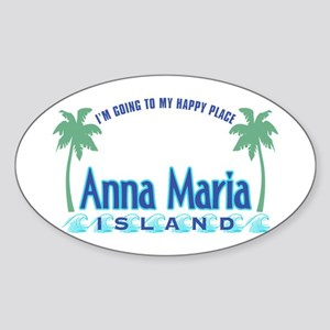 Anna Maria Island-Happy Place Sticker (Oval)