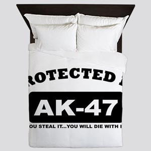property of protected by ak47 b Queen Duvet