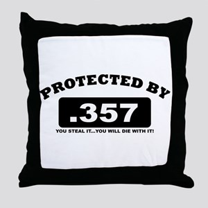 property of protected by 357 b Throw Pillow