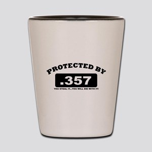property of protected by 357 b Shot Glass