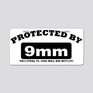 property of protected by 9mm b Aluminum License Pl