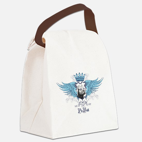 Blue Pit Bull Wing Crest Canvas Lunch Bag