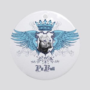 Blue Pit Bull Wing Crest Ornament (Round)
