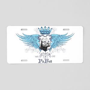 Blue Pit Bull Wing Crest Aluminum License Plate