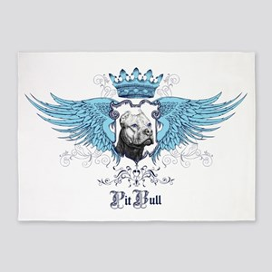 Blue Pit Bull Wing Crest 5'x7'Area Rug