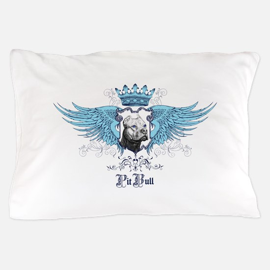 Blue Pit Bull Wing Crest Pillow Case