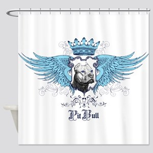 Blue Pit Bull Wing Crest Shower Curtain