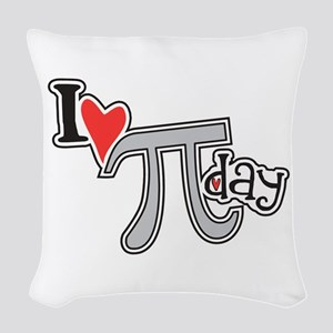 I heart (love) Pi Day Woven Throw Pillow