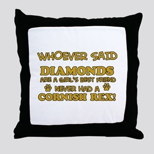 Cornish Rex cat mommy designs Throw Pillow