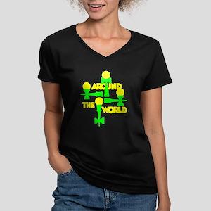 Around the World Women's V-Neck Dark T-Shirt