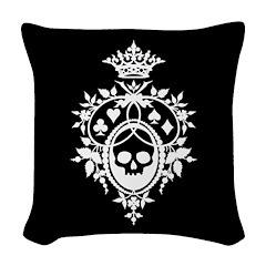 Gothic Skull Crest Woven Throw Pillow