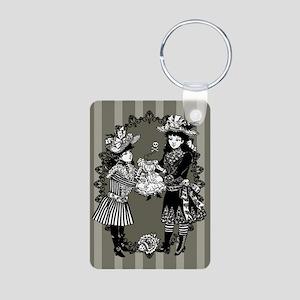 Girls With Headless Doll Aluminum Photo Keychain