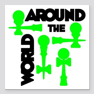 "Around the World Square Car Magnet 3"" x 3"""