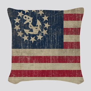 Vintage America Yacht Flag Woven Throw Pillow