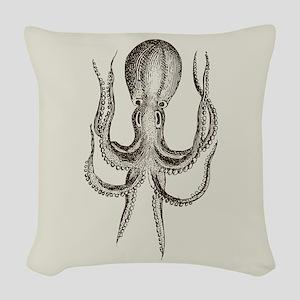 Vintage Octopus Woven Throw Pillow