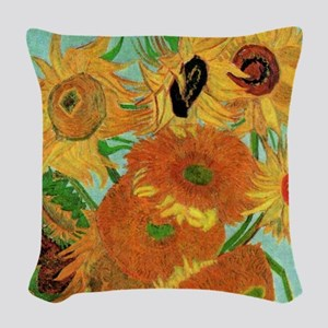 Van Gogh Twelve Sunflowers Woven Throw Pillow