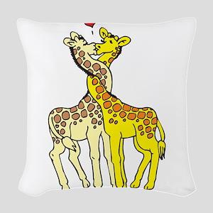 Giraffes In Love Woven Throw Pillow
