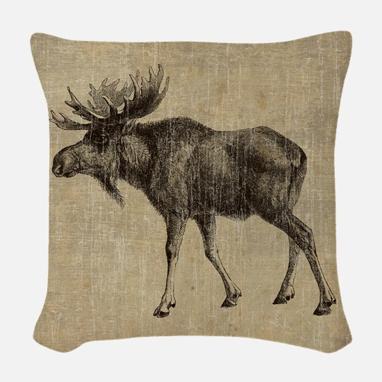 Vintage Moose Woven Throw Pillow