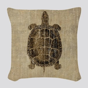 Vintage Turtle Woven Throw Pillow