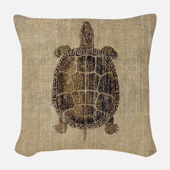 Vintage Turtle Woven Throw Pillow