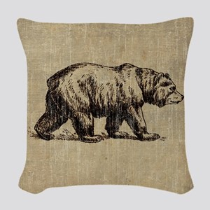 Vintage Bear Woven Throw Pillow