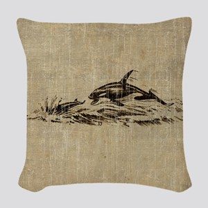 Vintage Killer Whale Woven Throw Pillow