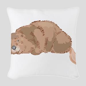 Cute Beaver Woven Throw Pillow