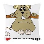 I Love Beavers Woven Throw Pillow