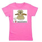 I Love Beavers Girl's Tee