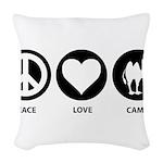 Peace Love Camel Woven Throw Pillow