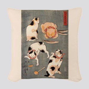 Utagawa Kuniyoshi Cats Woven Throw Pillow