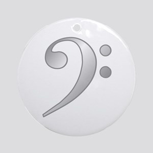 """Silver"" Bass Clef Ornament (Round)"