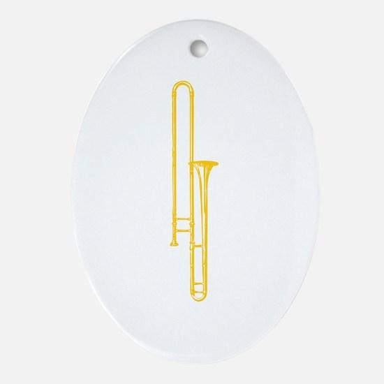 """Brass"" Trombone Oval Ornament"