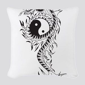 Yin Yang Dragon Woven Throw Pillow