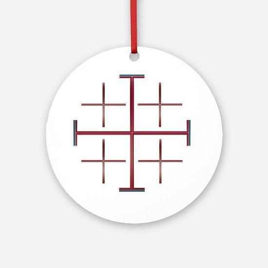 Red Jerusalem Cross Keepsake (Round)