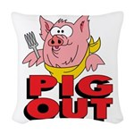 Pig Out Woven Throw Pillow
