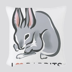 I Love Rabbits Woven Throw Pillow