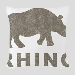 Vintage Rhino Woven Throw Pillow