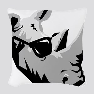 Cool Rhinoceros Woven Throw Pillow