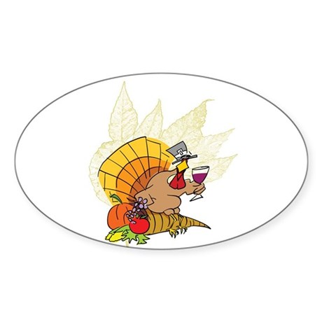 toasting Thanksgiving Turkey Oval Sticker