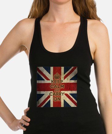 Cute Keep calm and carry on Racerback Tank Top