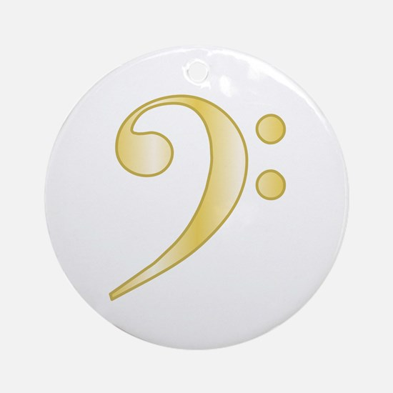 """""""Gold"""" Bass Clef Ornament (Round)"""