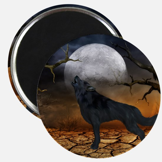 The lonely wolf in the night Magnets