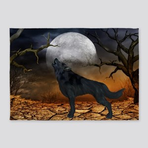 The lonely wolf in the night 5'x7'Area Rug