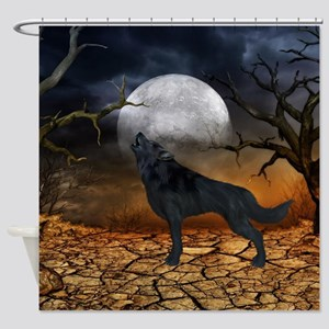 The lonely wolf in the night Shower Curtain