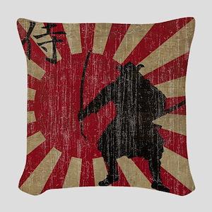 Vintage Samurai Woven Throw Pillow