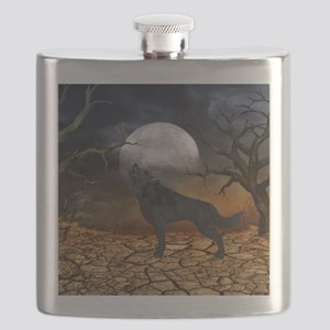The lonely wolf in the night Flask