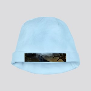 The lonely wolf in the night Baby Hat