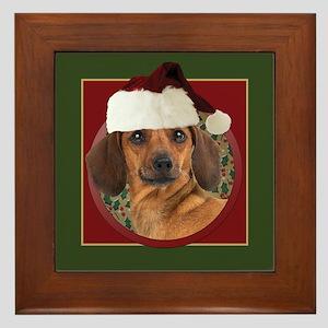 Merry Dachshund Framed Tile